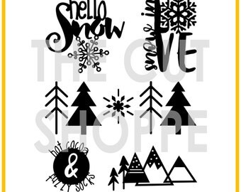 The Wintry Mix cut file set includes 5 Winter themed images that can be used on your scrapbooking and papercrafting projects.