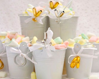 FAVORS TIN PAIL arrangement  3-ct. 3 ribbons Packs 3 cards love these cute little white pails right size for mints jelly beans nuts 9B4C