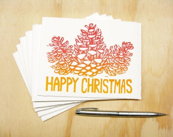Red Pinecones Happy Christmas Cards - Set of 8 Block Printed Cards - READY TO SHIP