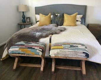 Pair of Dhurrie Wool Rug Custom Benches