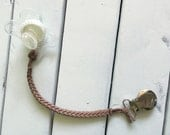 Chestnut Leather Braided Binky Clip -(brown, modern pacifier clip, baby boy, baby girl, faux suede, simple, natural)