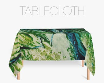 Green Tablecloth, Photo Table Cloth, Green Leaf Print, Nature Decoration,  Kitchen Accessory