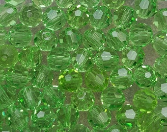 Swarovski 6mm Round (5000) Faceted Crystal Beads - PERIDOT - Select 10, 20 or 50 Beads