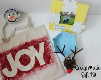 DIY Gift Kit • Gifts for Grandparents • Christmas Gift Kit • DIY Kid Activities • Ready to Make • Gifts from Kids • Creighative Gift Kits