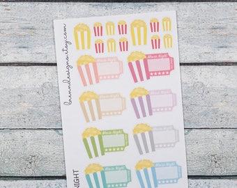 Movie Night Stickers, Movie Ticket Stickers, Popcorn and Movie Marquis Stickers, Icon Planner Stickers