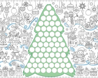 """Coloring poster """"Christmas tree with stickers"""" size 60*150 cm"""