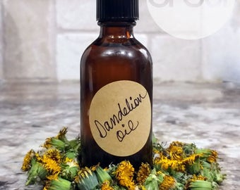 Dandelion Flower Oil - Wildflower Infused Rice Bran Oil - 2oz amber glass bottle