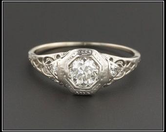 Vintage Engagement Ring | 18k White Gold Engagement Ring | Vintage 18k White Gold Ring | Filigree Diamond Ring | Filigree Ring |