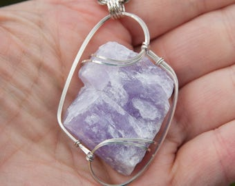 Frosted Lilac Rough Amethyst Pendant, Sterling Silver Wire Wrapped Pendant, Wire Wrapped Stone Pendant, Amethyst Wire Wrap Pendant