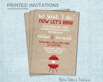 Printed I Do BBQ Invitations, Elopement Reception, Burlap, Outdoor, Barbecue, We Said I do, I do Me Too, Burlap, Rustic, White, MB195