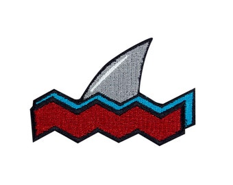 Shark Attack Embroidered Iron On Patch Iron on Applique