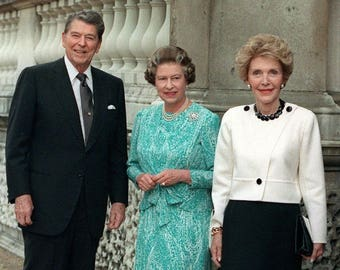 Queen Elizabeth II with President Ronald Reagan and Nancy Wall Art 8x10 Photo Print  Great Britain England United Kingdom UK