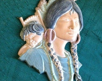 Vintage Native American Indian SEXTON Metal Wall Hanging Women Baby Squaw