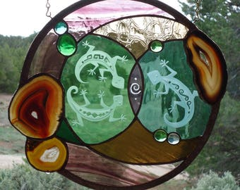 "stained glass window panel"" LEAPIN LIZARDS"" Brazilian agates, hand blown glass,sandcarving, lizards, stained glass suncatcher, glass nuggets"