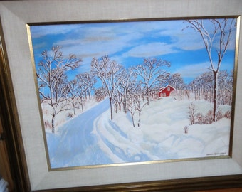Vintage 1976 Oil On Canvas/ Red House/ Snow/ Trees/ Signe Harry Bowman