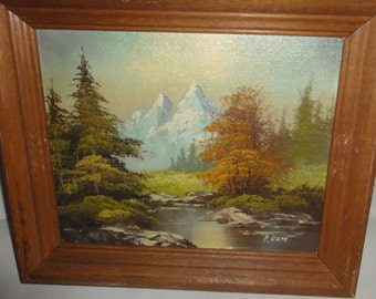 Small Vintage Oil on Board/ Snow Capped Mountains/Trees/Stream/Signed R. Kent