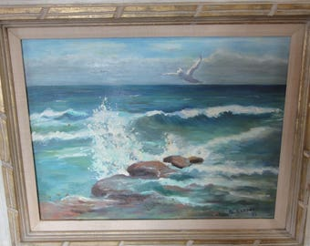 Vintage 1968 Oil Painting On Canvas/Ocean/ Waves/ Rocks/ Sea Gull/Signed Ruppert
