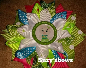 Katerina Kitty cat inspired loopy Botique bottle cap hairbow