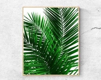 Palm leaf print, Tropical print, Tropical leaf print, Large wall art prints, Wall art printable, Nature prints, Minimalist poster, Wall art