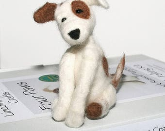 Dog needle felting kit/Jack Russell puppy felting kit/Needle felted dog/Gift for dog lovers