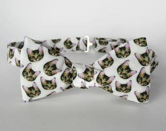 Cat Heads Bow Tie / Self Tie Calico Kitten Bowtie Gift Cat Lover Necktie Novelty Boys Mens Extra Long Freestyle Adjustable Fathers Day Gift