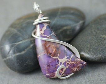 Purple Sea Sediment Jasper Freeform Cold Forged Sterling Silver Pendant