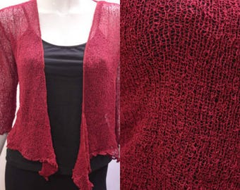Boho chic crochet style knit shrug cardigan Burgundy onesize 10 12 14 16 18 20