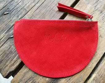 "Door currency ""Louis"" red seed leather and velvet leather"