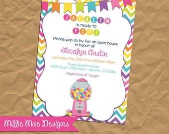 SALE 25% OFF Bubblegum Baby Shower - Baby Girl - Ready To Pop - Rainbow Baby Shower