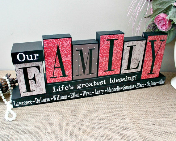 Our Family Personalized Home Decor Wood Blocks Family