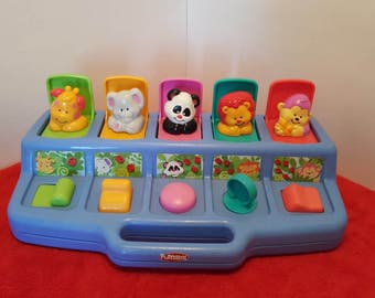 Vintage playskool hasbro pop up toy / animal pop up toy / Toddler toy / available in 2 colors, blue or yellow