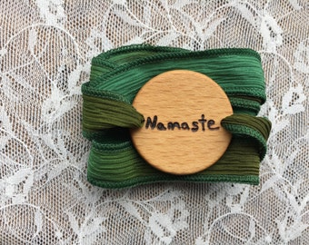 Essential Oil Diffuser Bracelet, Wood Essential Oil Bracelet, Namaste Bracelet, Namaste Silk Wrap Bracelet, Gifts for Yogis, Yoga Gifts