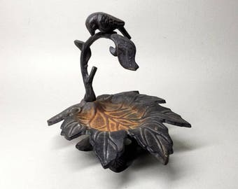 French Vintage Cast Iron Bird Fountain - Bird Bath - Bird Feeder