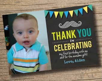 PRINTABLE Chalkboard Baby Boy First Birthday Thank You Card First Birthday Moustache Photo Birthday Party Chalkboard Thank You Card Photo