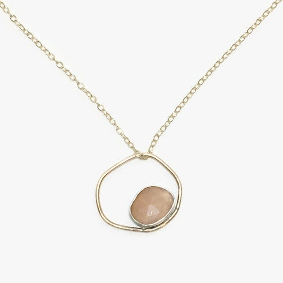 Gold organic circle gemstone layering necklace