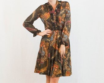 1970s Bohemian Floral Paisley Ruffle A-Line Dress