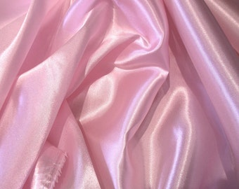 "JN00008 Sale Item Pale Pink 8 Charmeuse Satin Soft Smooth Flowing Silky Hand Lightweight Fashion Home Decor 58/60""  Fabric By The Yard"