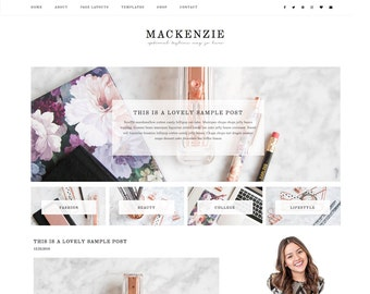 "Premade Feminine Wordpress Theme ""MacKenzie"" - Responsive E-Commerce Self-Hosted Wordpress Blog Theme"