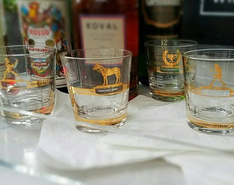 4 Mid Century Rocks Glasses, Sports, Whiskey, Hall of Fame, Lowballs, Gold