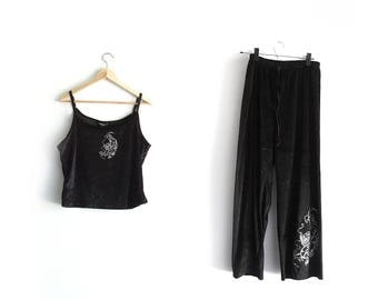 90s Black Velvet x  Dragon Lounge Set / Cami and Pants Matching Set / medium-large