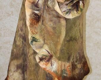 Beige bolero shawl, hand-made from silk and wool. Batik and shibori hand-painted silk. Nunofelting technique.