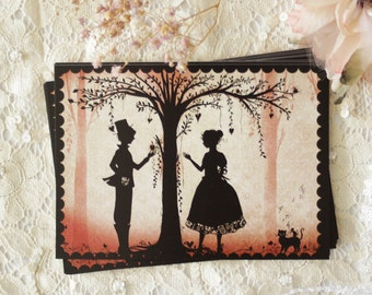 """Postcard - Illustrated postcard - miss shadow - silhouette - cameo - Love - """"The Lovers"""""""