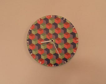 Color Squares wall clock -  etra quiet clockwork - white - Green - Black - Red -  boys room - girls room - silence - round or square export