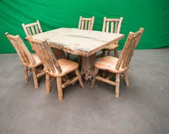 Northern Rustic Pine Log Stump Kitchen/Dining Table - 6 Chairs