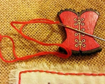 Wooden Corset Magnetic Needle Minder, Needle Nanny, Embroidery Cross Stitch Handpainted
