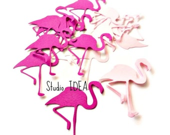 "Mixed Light Pink & Fuchsia  2"" Flamingo Cut outs, Confetti or CHOOSE YOUR COLORS"