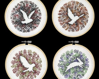 Kit of the Owls and Rabbit Series - Beginners Blackwork Hand Embroidery Pattern