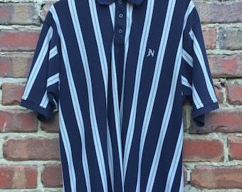 Men's Polo Shirt Dark Blue White and Gold Striped