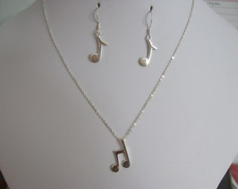 """Sterling Silver Set of 16"""" Sterling Silver Necklace & Earrings with Musical Note Charms"""