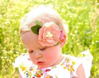 Felt flower headband - pink - felt flower headband - pale dogwood
